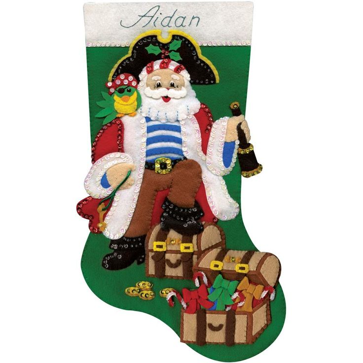 "Pirate Stocking Felt Applique Kit-18"" Long"