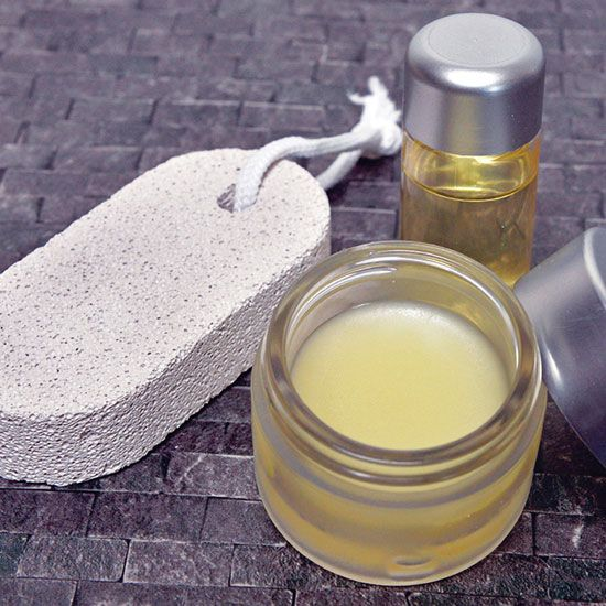 Dry, cracked heels can be resistant to moisturizers. Try this DIY natural heel balm with beeswax, shea butter, almond and olive oils to soften stubborn calluses.