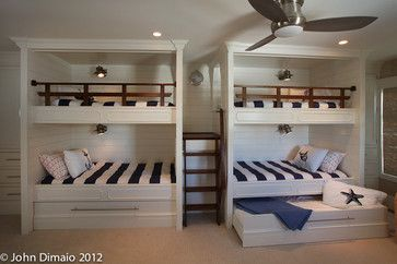 @W Wayne Livingston, @Mary Ann Livingston - cool bunk beds with trundle underneath. You cold also just make it a big drawer to store blankets, etc.