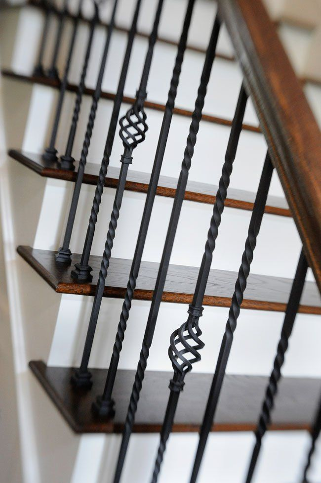 Decorative stair railing enhances beauty of home.                                                                                                                                                      More