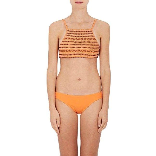 Kisuii Women's Terez Smocked Bikini Top ($130) ❤ liked on Polyvore featuring swimwear, bikinis, bikini tops, orange, orange bikini, tankini tops, swim tops, orange bikini top and swimsuit tops