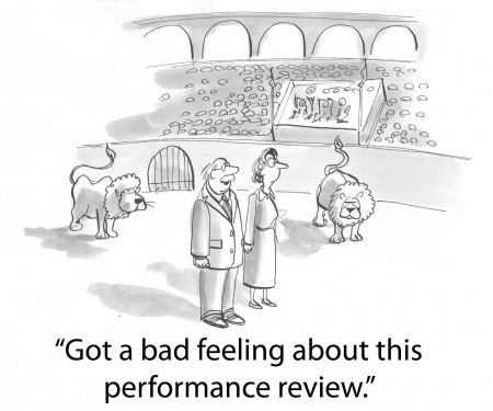 A man and woman nervous about their performance reviews