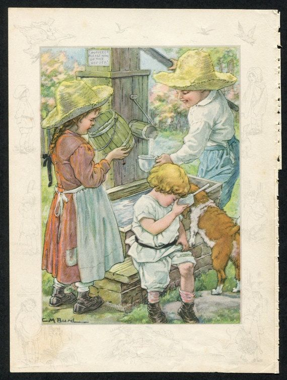Country Kids Art Print  Children at Water Well  Vintage Wall