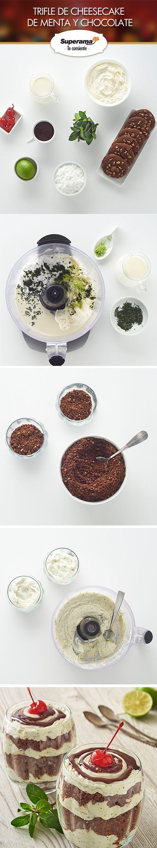 #Trifle de #cheesecake de menta y chocolate: Mezcla en el procesador 1 tz. de queso crema, ½ tz. de azúcar glass, ¾ tz. de crema para batir, 1 cda. de ralladura de limón y 4 cdas. de menta picada. Coloca en un vaso 3 cdas. de galleta de chocolate triturada y  3 cdas. de la preparación de queso. Repite el procedimiento hasta llenar el vaso. Completa 3 vasos más y decóralos con 2 cdas. de  jarabe de chocolate, 1 cereza en almíbar y 1 hoja de menta.