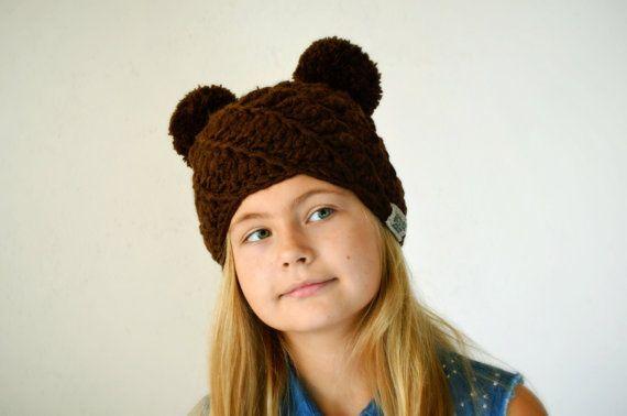 Double pom pom hat Girls Winter hat Animal by MAMMBAaccessories