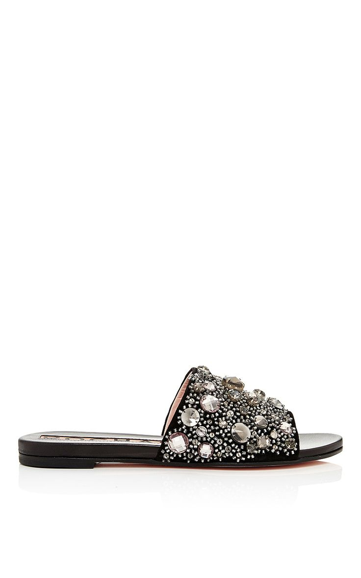 Embellished Flat Mules in Black by Rochas Now Available on Moda Operandi
