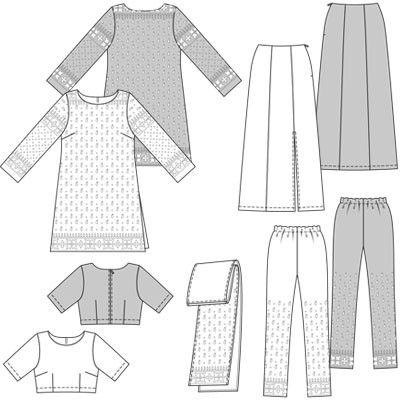 Burda - 7701 Indiase sari, top, rok, tuniek met broek   Naaipatronen.nl   zelfmaakmode patroon online