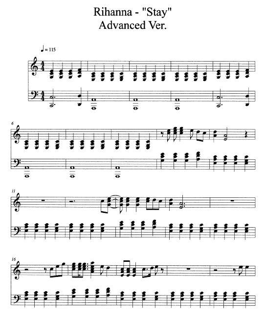 Grenade Free Piano Sheet Music With Lyrics: Free Stay Piano Sheet Music With Lyrics