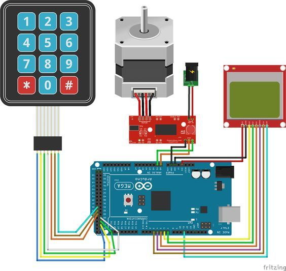 A circuit diagram to control the movement of a stepper motor by entering a value in millimeters using an Arduino a keypad and display the position on a Nokia LCD.