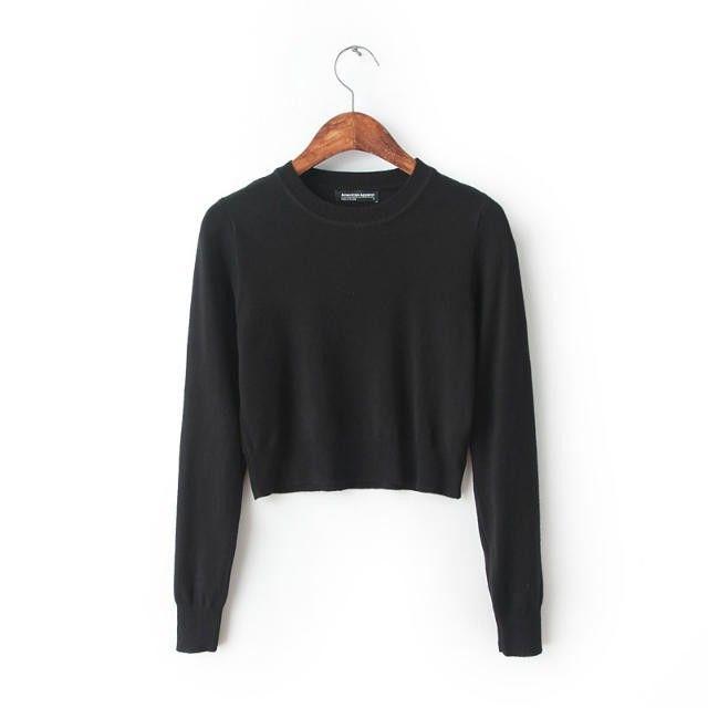 Amerikan giyim bağbozumu AA Triko düz renk Yüksek bel lo shi kısa örgü kazak Aliexpress.com üzerinde Giyim ve Aksesuar gelen yy300-in Kazaklar | Alibaba Group