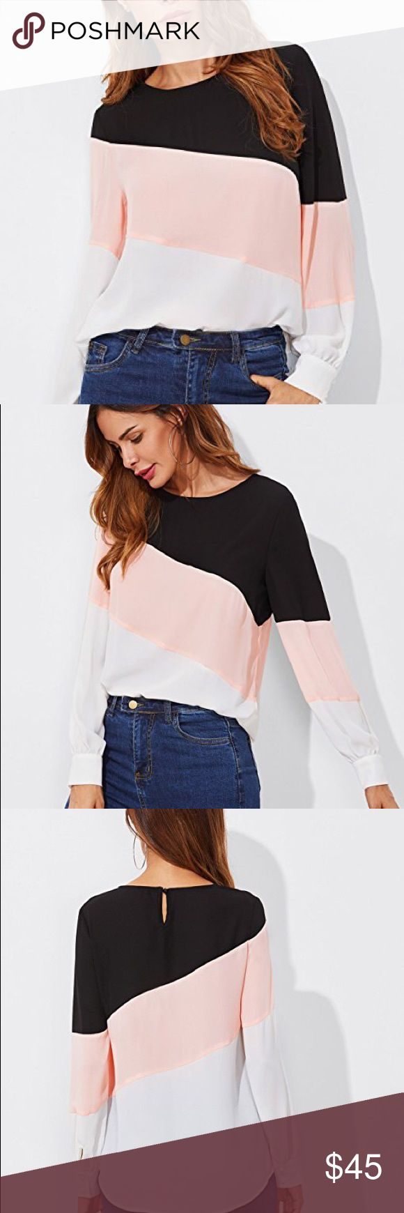 Pink, black, and white color block blouse Brand new w tags boutiquepink, Black, and white colorblock blouse tunic top. 100% polyester. Available sizes are: xsmall, small, medium, or large.  POSH RULES ONLY NO TRADES NO PP NO LOWBALL OFFERS  HAPPY POSHING! boutique Tops Blouses