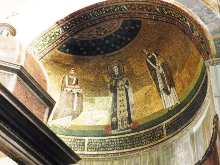 S. Agnese con i papi Simmaco e Onorio, 625 - 638, S. Agnese f.l.m., Roma.
