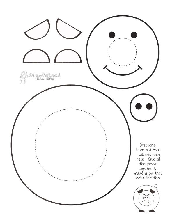 """Paint a pig"" printable cute craft for kids. turns out WAY CUTE and is good practice for using scissors for the little guys."
