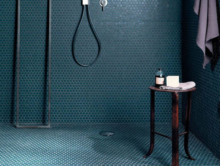 Shower room with Winckelmans bathroom tile in jewel tone colors -