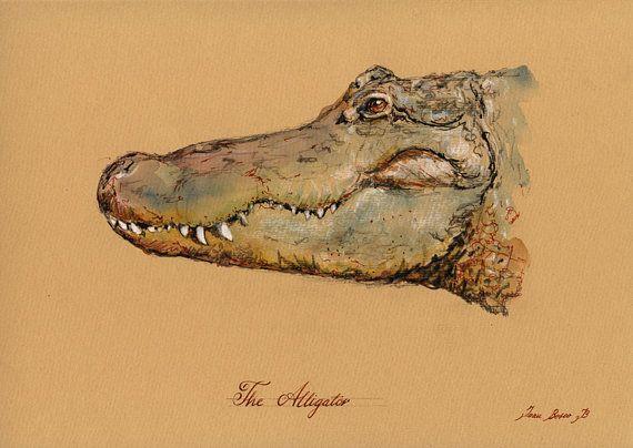 Crocodile Alligator Head Painting Art Wall Drawing 11x8 29x21 Cm