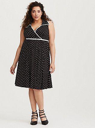 bb58130f83 Retro Chic Polka Dot Challis Dress