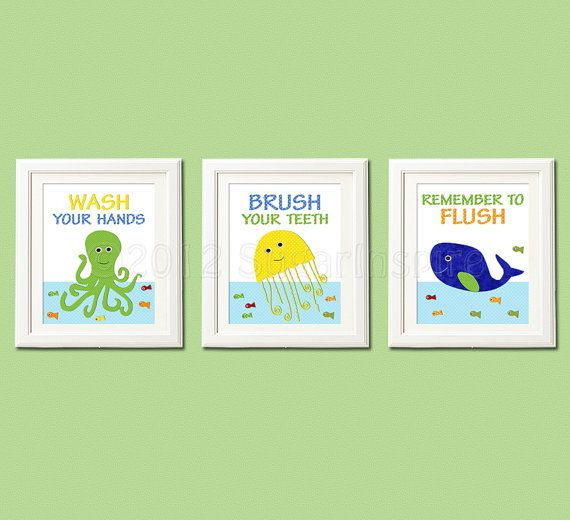 Boys bathroom art print set 5x7 bathroom decor for boys for Bathroom 5x7 design