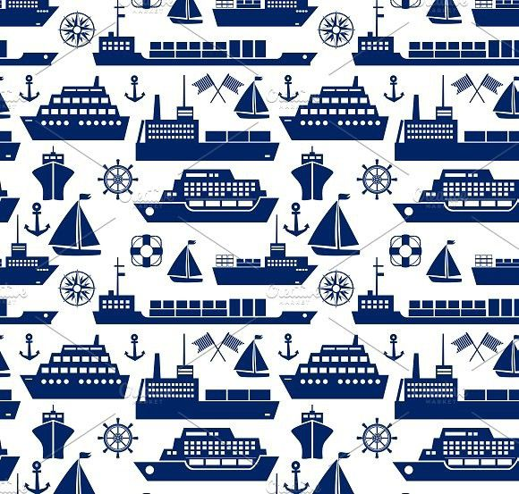 Ships and boats seamless background. Patterns