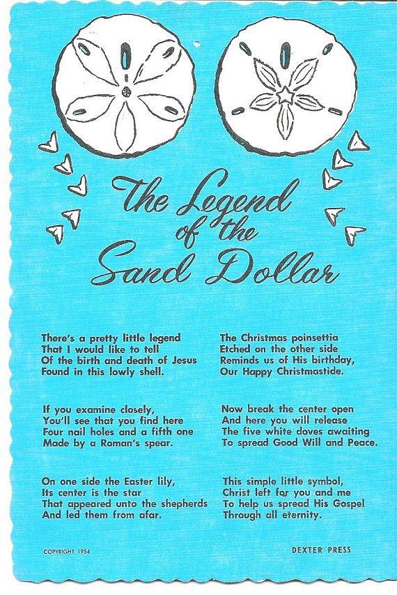 Vintage Unused Glossy Postcard The Legend Of The Sand Dollar Postcard Sand Dollar Old Postcards