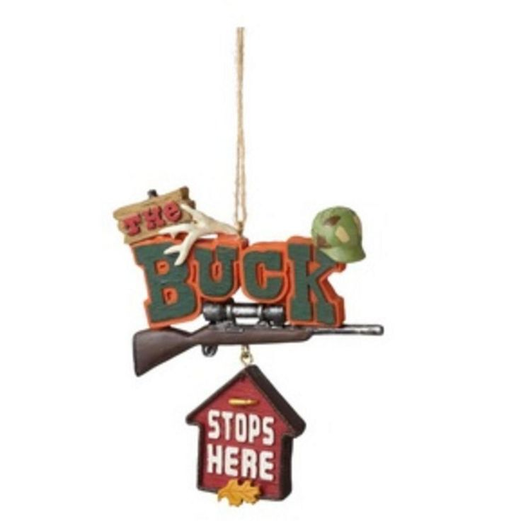 "Nice Midwest 3.5 Funny ""The Buck Stops Here"" Quote Plaque Christmas Ornament - Orange/Green, Multicolored 12"