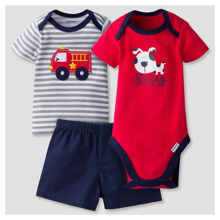 Baby Boys' 3 Piece Short Sleeve Onesies Bodysuit, Tee and Short Set Fire Engine Red 3-6M - Gerber