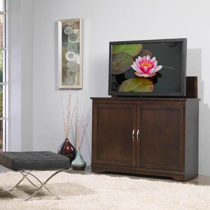 sonoma tv lift cabinet by touchstone home products cabinet includes mounts and features a motorized lift for flat screen tvu0027s remote control activated to