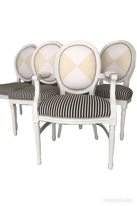 Set of 8 upholstered dining chairs painted white black and for Striped upholstered dining chairs