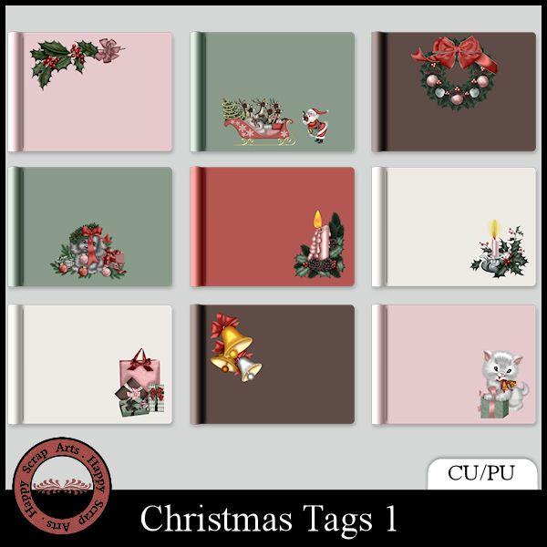 EXCLUSIVE Christmas Tags 1 by Happy Scrap Arts (CU)