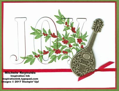 "Musical Season Eclipse Joy handmade Christmas card using eclipse technique and Stampin' Up! products - Musical Season Stamp Set, 1/8"" Solid Ribbon, Large Letters Framelits Dies, and Musical Instruments Framelits Dies.  Directions and measurements on my blog.  By Michele Reynolds, Inspiration Ink."
