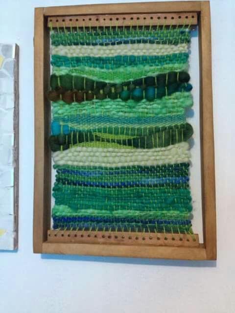Telar confeccionado con lanas artesanales de Chile.