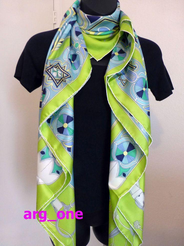 Hermes Silk Shawl Scarf Folklore GM 140 Vert Fluo Pretty & Very Drapey #HERMS #ScarfShawl