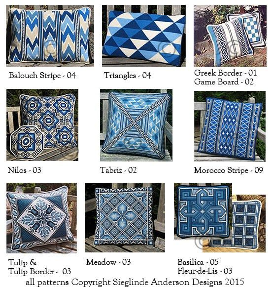 a small selection of blue and white pillows - see our semi annual special offer coming in June, 2015