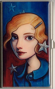 """""""Stars"""" Card Case; $30.00  Epoxy coated image on high quality steel case.  Holds business cards, credit cards and an I.D.  Made by Classic Hardware in the U.S.A.  L x W x D:"""