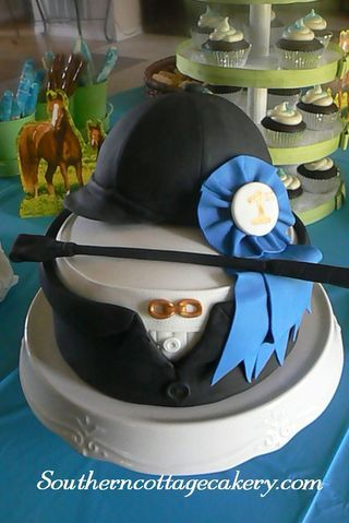 We've had a few cowboy/cowgirl themed cakes on our Pinterest boards . . . here's one for all the English riders out there!