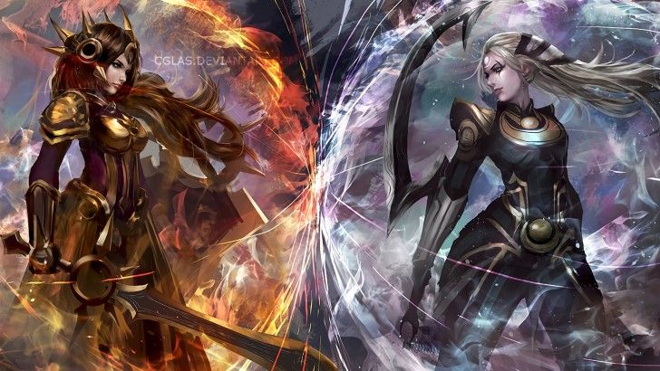Download Leona vs Diana League of Legends Art Girl Warrior by Cglas 1920x1080