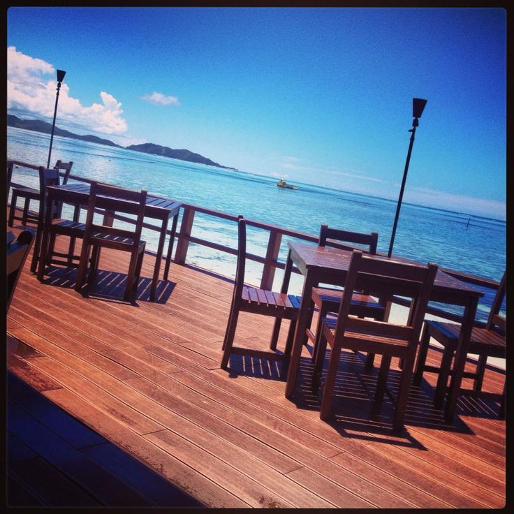 Dining by the pacific. Fiji, Mana Island, 2014