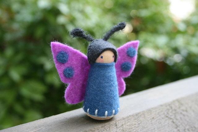 Felt and Wood Peg Butterfly Fairy.