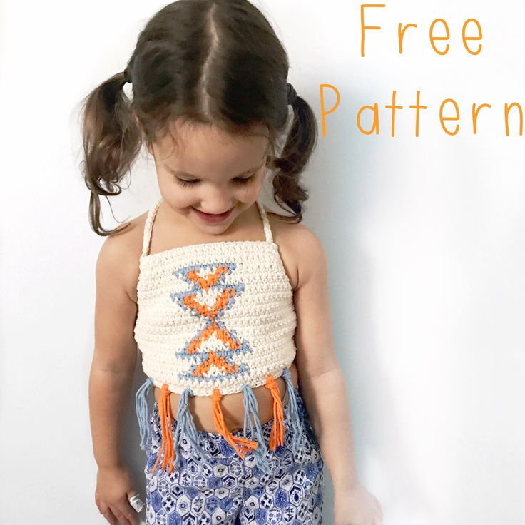 Aztec halter top free crochet pattern.