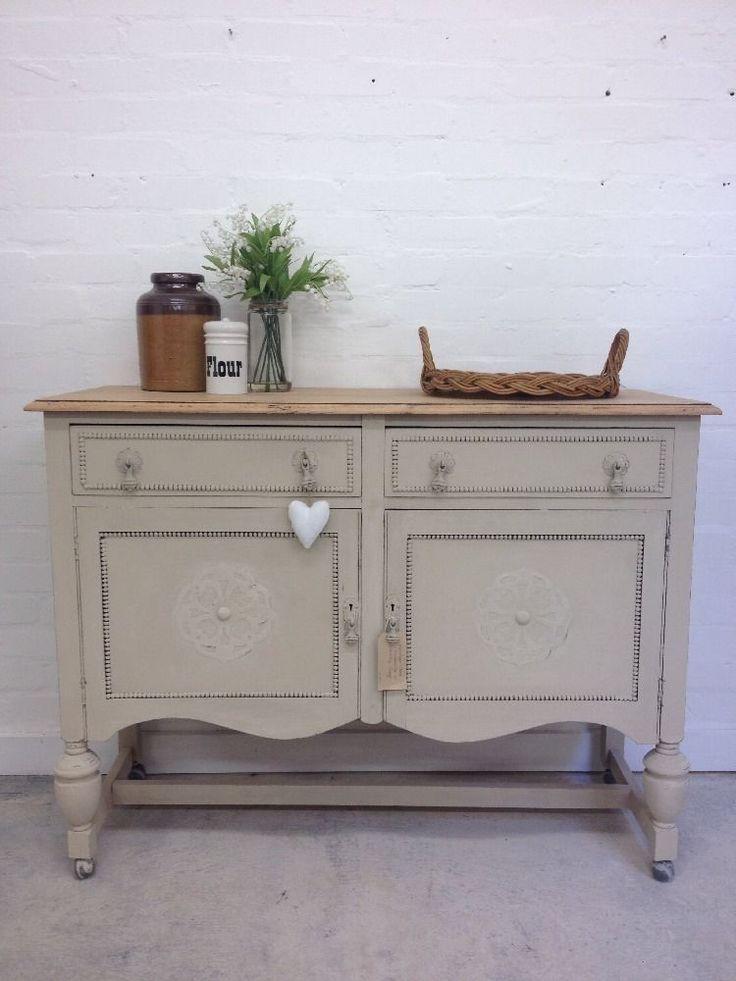 Solid Oak Sideboard Drawers Cupboard Annie Sloans Country Grey Shabby Farmhouse