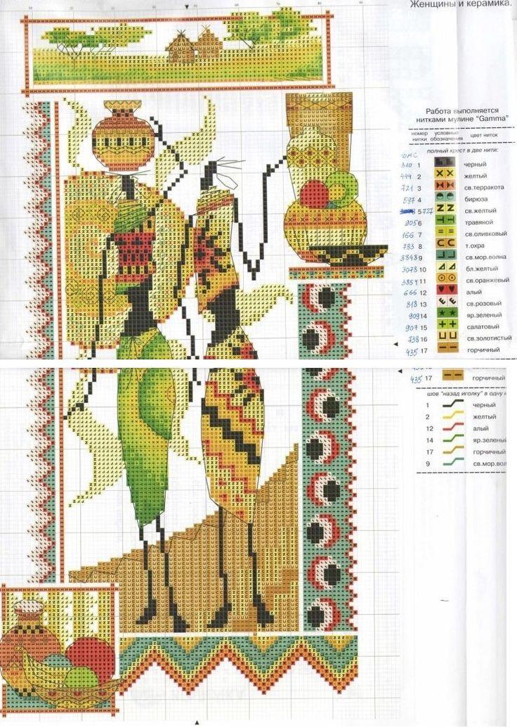 0 point de croix femmes africaines et poterie - cross stitch african women and pottery 2