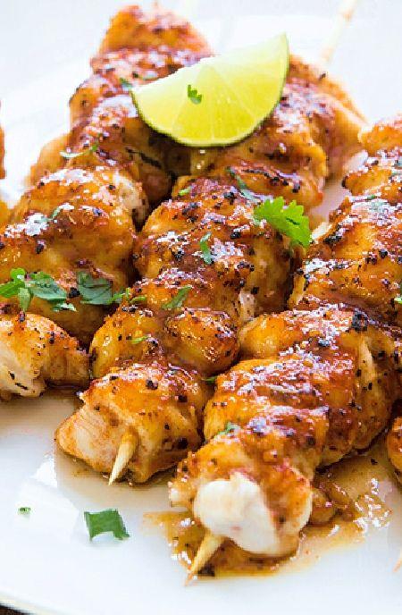 Low FODMAP Recipe and Gluten Free Recipe - Maple chicken skewers http://www.ibs-health.com/low_fodmap_maple_chicken_skewers.html