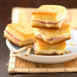 Mini croques: very easy. Basically make a large croques monsieur with cheese and ham. And then slice it into tiny cubes. Kids adore the. Fun for a cocktail appetizer as well.