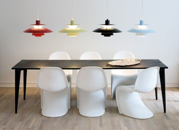 Classic Scandinavian Design - Poul Henningsen Lamps and my all-time favorite Verner Panton Chairs