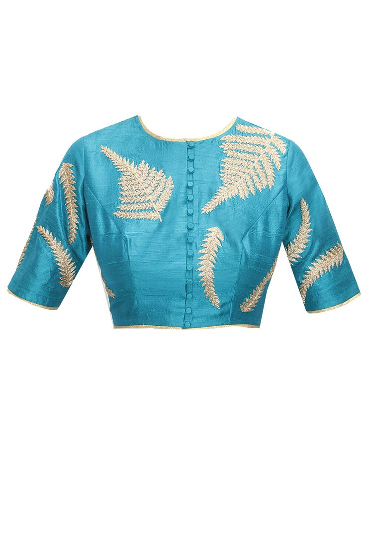 Peacock fern embroidered blouse by Nachiket Barve. Shop now: www.perniaspopups.... #blouse #beautiful #designer #nachiketbarve  #pretty #accessory #shopnow #perniaspopupshop #happyshopping