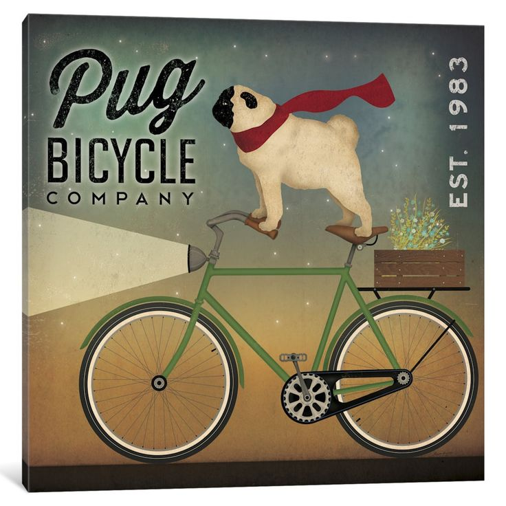 Pin By Ryan Pedersen On Furniture Ad: ICanvas Pug Bicycle Co. By Ryan Fowler Canvas Print (depth
