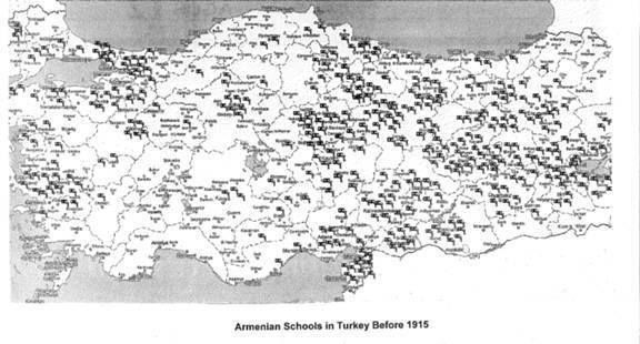Armenian schools before 1915 Genocide EDITED description image  east turkey today was Wes Armenia ( Armenian Kingdom of Cilicia ) As Armenians Living during pre 1915 were under Ottomon Government During 1915 thee Schools and Many thousands Churches were Burnt by Ottomon Turks only a few Churches remain today in Turkey under UNESCO protection - Nane