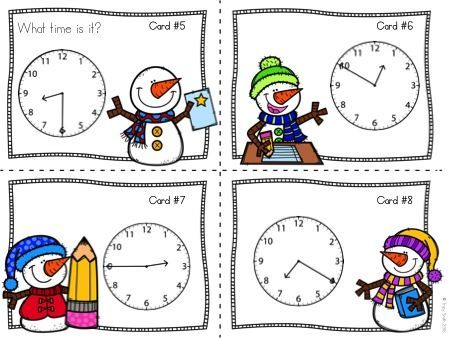 Winter Math Task Cards - Telling Time! 2 sets in one packet - one set telling time to the minute and one set telling time to the 5 minutes!  Get your kids up and moving and TELLING TIME!  Great for winter parties!