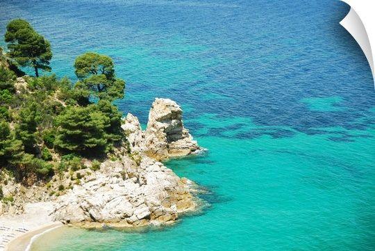 Rock cliffs and Mediterranean pine trees on coast of Chalkidiki peninsula, Greece.