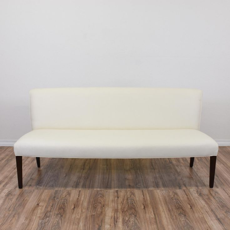 This Contemporary Dining Bench Is Upholstered In A Durable Fresh White  Fabric. This Dining Settee