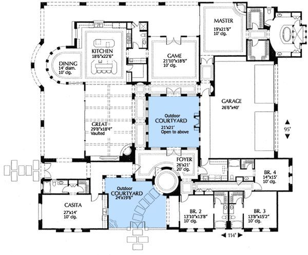 35 best luxurious floor plans images on pinterest for Mediterranean floor plans with courtyard